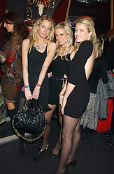 Left to right, the HON.SOPHIA HESKETH and sisters OLYMPIA SCARRY and FIONA SCARRY at a party to celebrate the first issue of British Harper's Bazaar held at Cirque, 10-14 Cranbourne Street, London WC2 on 16th February 2006.<br />