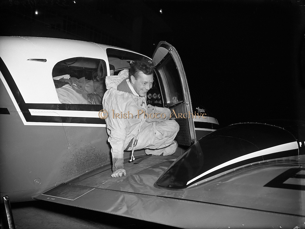 "Max Conrad, co-pilot of 'Piper Apache' which arrived in Dublin.27/02/1957..Maximilian ""Max"" Conrad, (January 21, 1903 - April 3, 1979 in Summit, New Jersey) known as the ""Flying Grandfather"", was a record-setting aviator. In the 1950s and 1960s, he set nine official light plane world records, three of which still stand at the end of 2008.  For his efforts, he was awarded the Louis Blériot medal in 1952 and the prestigious Harmon Trophy in 1964. Winona Municipal Airport, also known as Max Conrad Field, in Winona County, Minnesota is named in his honor."