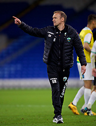 CARDIFF, WALES - Thursday, August 9, 2018: The New Saints FC's manager Scott Ruscoe looks dejected after his side's 2-0 defeat during the UEFA Europa League Third Qualifying Round 1st Leg match between The New Saints FC and FC Midtjylland at Cardiff City Stadium. (Pic by David Rawcliffe/Propaganda)
