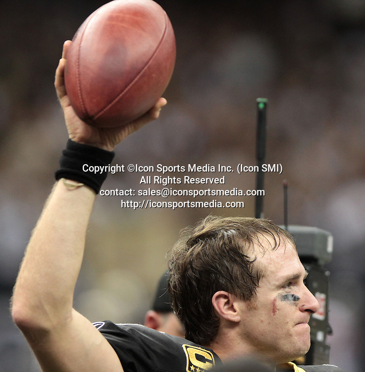 Dec. 26, 2011 - New Orleans, Louisiana, U.S. - New Orleans Saints quarterback DREW BREES after breaking the NFL record for passing yards at 5,087 during a regular season game against the Atlanta Falcons at the Mercedes-Benz Superdome in New Orleans. The Saints beat the Falcons 45-16