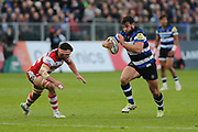 Bath prop Nathann Catt(1) on the charge during the Aviva Premiership match between Bath Rugby and Gloucester Rugby at the Recreation Ground, Bath, United Kingdom on 29 October 2017. Photo by Gary Learmonth.