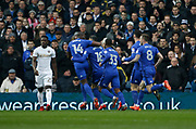 Goal celebration  by Cardiff City midfielder Callum Paterson (18) during the EFL Sky Bet Championship match between Leeds United and Cardiff City at Elland Road, Leeds, England on 3 February 2018. Picture by Paul Thompson.