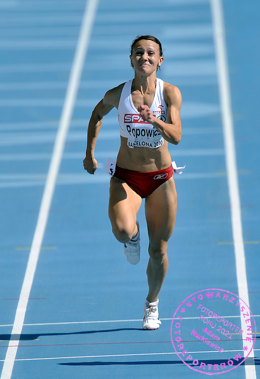 MARIKA POPOWICZ (POLAND) COMPETES IN THE WOMEN'S 100 METERS QUALIFICATION DURING THE 2010 EUROPEAN ATHLETICS CHAMPIONSHIPS AT OLYMPIC STADIUM IN BARCELONA, SPAIN...SPAIN , BARCELONA , JULY 28, 2010..( PHOTO BY ADAM NURKIEWICZ / MEDIASPORT )..PICTURE ALSO AVAIBLE IN RAW OR TIFF FORMAT ON SPECIAL REQUEST.