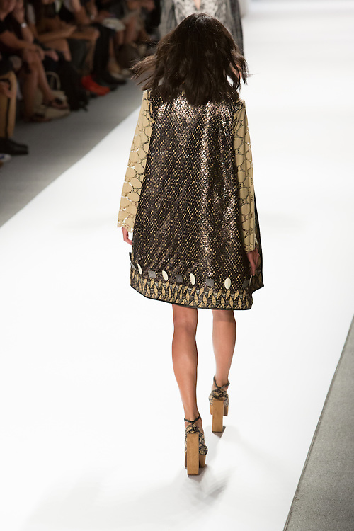 Print mini-dress with long vest with ace sleeves and sequined back. By Custo Barcelona at the Spring 2013 Fashion Week show in New York.