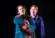 The Siege of Calais <br /> English Touring Opera at Hackney Empire, London, Great Britain <br /> rehearsal <br /> 2nd March 2015 <br /> <br /> music by Dinizetti <br /> words by Salvatore Cammarano <br /> directed by James Conway <br /> <br /> <br /> <br /> Paula Sides as Eleonora<br /> <br /> Catherine Carby as Aurelo<br /> <br /> <br /> Photograph by Elliott Franks <br /> Image licensed to Elliott Franks Photography Services