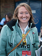 London, Great Britain, CUWBC Blondie crew member, Evelyn BOETTCHER.waiting to watch the Newton Women's Boat Race. The Newton Women's Boat race and the reserve races Mortlake. ENGLAND. <br /> <br /> 17:21:48  Saturday  11/04/2015<br /> <br /> [Mandatory Credit; Intersport-images]