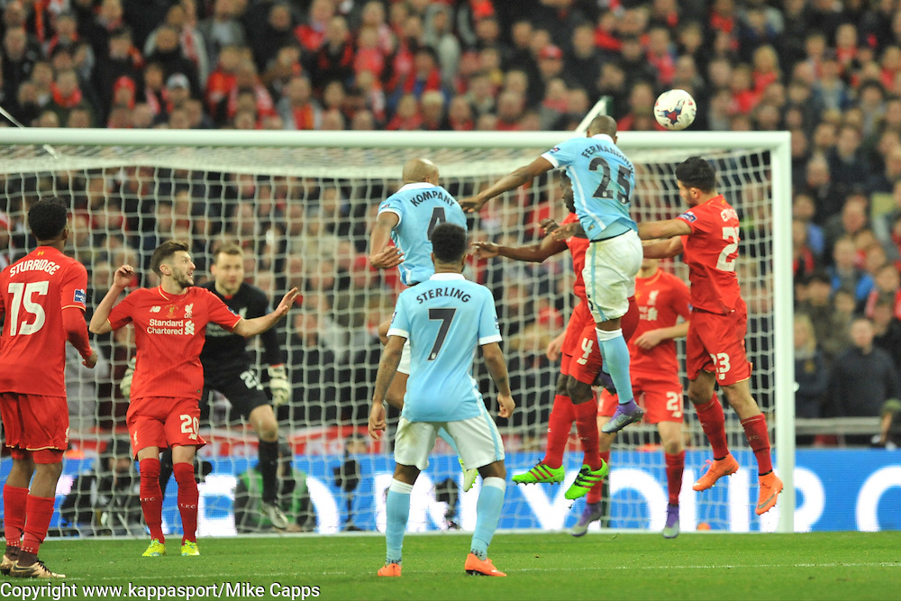 MANCHESTER CITY FERNANDINHO TRYS A HEADER ON LIVERPOOLS GOAL, Liverpool v Manchester City, Capital One Cup Final Wembley Stadium, Sunday 28th Febuary 2016