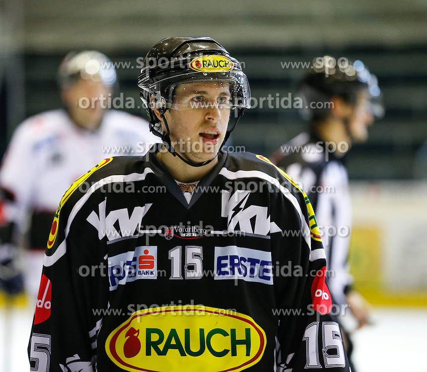 26.12.2013, Messestadion, Dornbirn, AUT, EBEL, Dornbirner EC vs HC TWK Innsbruck, 58. Runde, im Bild Chris D'Alvise, (Dornbirner EC, #15)// during the Erste Bank Icehockey League 58th round match between Dornbirner EC and HC TWK Innsbruck the Exhibition Stadium, Dornbirn, Austria on 2013/12/26, EXPA Pictures © 2013, PhotoCredit: EXPA/ Peter Rinderer
