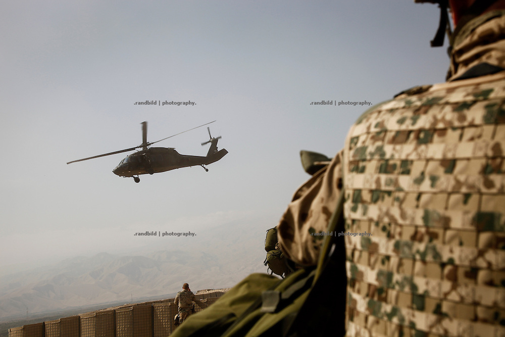 A Black Hawk helicopter is taks off from german OP North, Northern Afghanistan