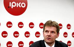 PRISTINA, KOSOVO - DECEMBER 14 -  Bojan Dremelj, predsednik uprave Telekoma Slovenije na novinarski konferenci, kjer so predstavili zacetek delovanja drugega mobilnega operaterja IPKO, ki je v 67% lasti Telekoma Slovenije.