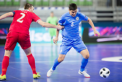 Marko Peric of Serbia and Serik Zhamankulov of Kazakhstan during futsal quarter-final match between National teams of Kazakhstan and Serbia at Day 7 of UEFA Futsal EURO 2018, on February 5, 2018 in Arena Stozice, Ljubljana, Slovenia. Photo by Urban Urbanc / Sportida