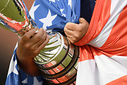 Ilustration of the trophy and american flag during the final round of LPGA Evian Championship 2018, Day 7, at Evian Resort Golf Club, in Evian-Les-Bains, France, on September 16, 2018, Photo Philippe Millereau / KMSP / ProSportsImages / DPPI