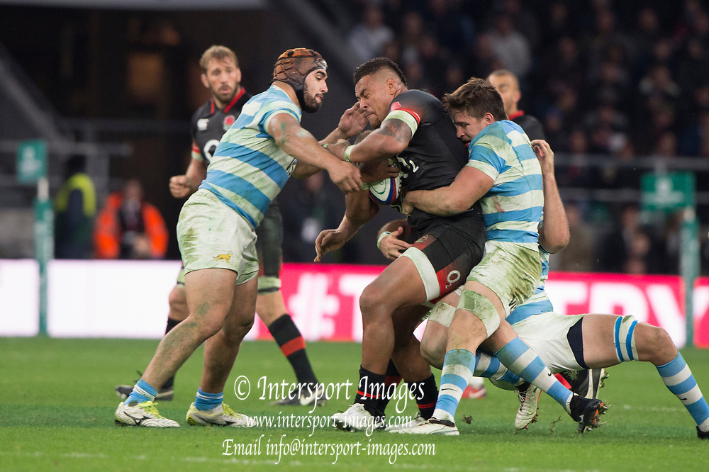 Twickenham, Surrey United Kingdom. Nathan HUGHES, during the England vs Argentina. Autumn International, Old Mutual Wealth series. RFU. Twickenham Stadium, England. <br /> <br /> Saturday  11.11.17.    <br /> <br /> [Mandatory Credit Peter SPURRIER/Intersport Images]