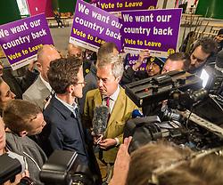 UKIP leader Nigel Farage visits Leeds on the Brexit Battle bus campaign tour encouraging voters to leave the EU in the forthcoming referendum of 23rd June<br /> <br /> (c) John Baguley   Edinburgh Elite media