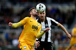 Tom Barkhuizen of Preston North End takes on Paul Dummett of Newcastle United - Mandatory by-line: Robbie Stephenson/JMP - 24/04/2017 - FOOTBALL - St James Park - Newcastle upon Tyne, England - Newcastle United v Preston North End - Sky Bet Championship