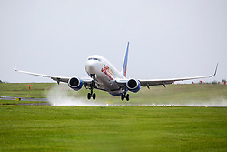 © Licensed to London News Pictures. 15/07/2020. Leeds UK. Jet2 flight LS257 to Palma takes off from Leeds Bradford Airport this morning making it the first Jet2 flight since the airline stopped all flights in April due to the Covid-19 outbreak. Photo credit: Andrew McCaren/LNP