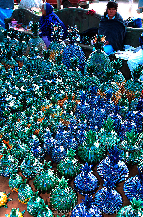 MEXICO, FESTIVALS, DAYS OF THE DEAD Nov 1-3, village ceramics in the craft market in the main plaza of Patzcuaro, Michoacan