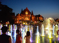 Kids Playing in the fountains at Washington Park