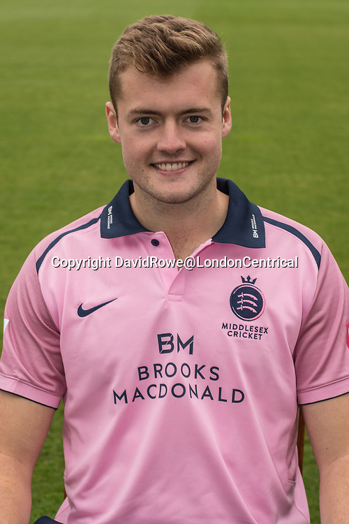 11 April 2018, London, UK.  Tom Helm of Middlesex County Cricket Club in the   pink Vitality T20 kit . David Rowe/ Alamy Live News