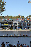 Boston, USA, Collegiate Men's Eights, pass Cambridge Boat Club, at the Head of the Charles Race, Charles River, Cambridge,  Massachusetts. Saturday  21/10/2007 [Mandatory Credit Peter Spurrier/Intersport Images]..... , Rowing Course; Charles River. Boston. USA Cambridge Boat House