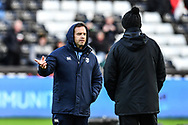 Cardiff Blues' Head Coach Danny Wilson chats to Ospreys' Head Coach Steve Tandy during the pre match warm up<br /> <br /> Photographer Craig Thomas/Replay Images<br /> <br /> Guinness PRO14 Round 13 - Ospreys v Cardiff Blues - Saturday 6th January 2018 - Liberty Stadium - Swansea<br /> <br /> World Copyright &copy; Replay Images . All rights reserved. info@replayimages.co.uk - http://replayimages.co.uk
