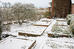 The vegetable beds at Glebe Cottage in snow. Lock off ten