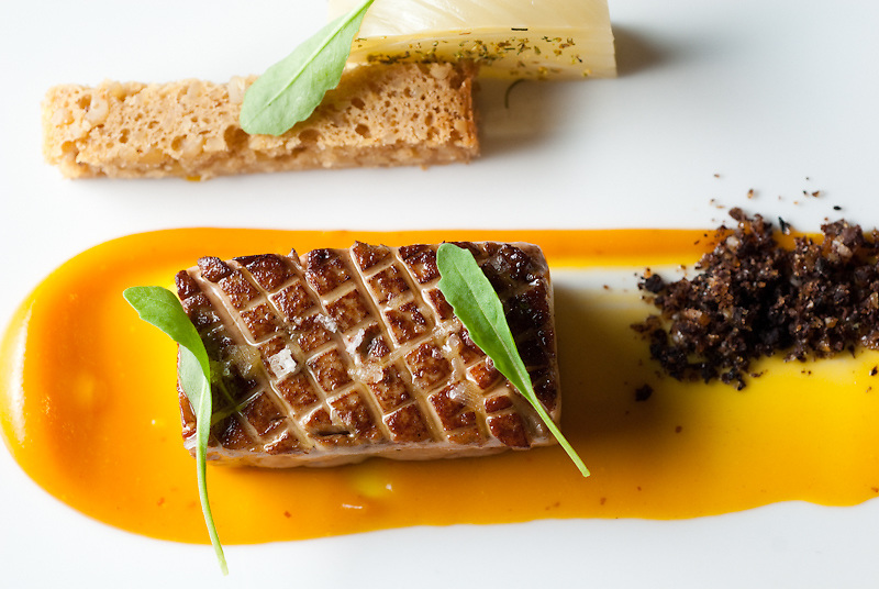 Hudson Valley Foie Gras, Braised Fennel, Pinenut Bread, and Sweet and Sour Black Olive with Mustard-Kumquat Puree
