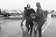 Police arrest Dave Douglass, NUM Delegate at Hatfield Main Colliery during the miners strike. January 1985<br />
