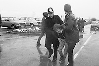 Police arrest Dave Douglass NUM Delegate Hatfield Main Colliery during the 1984 85 miners strike. January 1985...&copy; Martin Jenkinson<br />