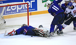 Goalkeeper of Slovenia Andrej Hocevar and Anze Kopitar of Slovenia at ice-hockey game Slovenia vs Slovakia at second game in  Relegation  Round (group G) of IIHF WC 2008 in Halifax, on May 10, 2008 in Metro Center, Halifax, Nova Scotia, Canada. Slovakia won after penalty shots 4:3.  (Photo by Vid Ponikvar / Sportal Images)