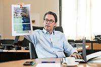 03 JUL 2019, BERLIN/GERMANY:<br /> Andreas Scheuer, CSU, Bundesminister fuer Verkehr und digitale Infrastruktur, waehrend einem Interview, in seinem Buero, Bundesministerium fuer Verkehr und digitale Infrastruktur<br /> IMAGE: 20190703-01-022