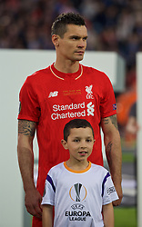 BASEL, SWITZERLAND - Wednesday, May 18, 2016: Liverpool's Dejan Lovren lines-up before the UEFA Europa League Final against Sevilla at St. Jakob-Park. (Pic by David Rawcliffe/Propaganda)