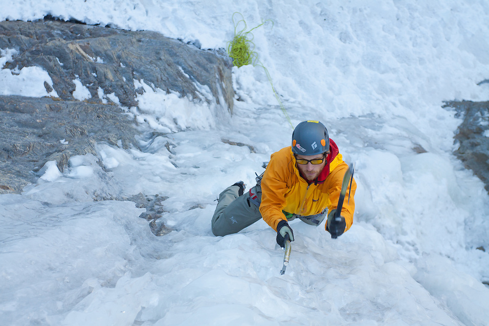 Doug Shepherd solos Ames Ice Hose near Telluride, Colorado, USA.