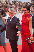 Director Aleksandr Sokurov and Ekaterina Mtsitouridze at the gala screening for the film Francofonia at the 72nd Venice Film Festival, Friday September 4th 2015, Venice Lido, Italy.