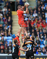 Brad Thorn of Leicester Tigers wins the line out during the Aviva Premiership match at the Ricoh Arena, Coventry<br /> Picture by Michael Whitefoot/Focus Images Ltd 07969 898192<br /> 09/05/2015