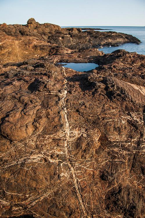 Lake Superior shoreline at the Black Rocks area of Marquette Michigan.