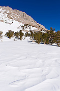 Windswept snow below Piute Pass, Inyo National Forest, Sierra Nevada Mountains, California