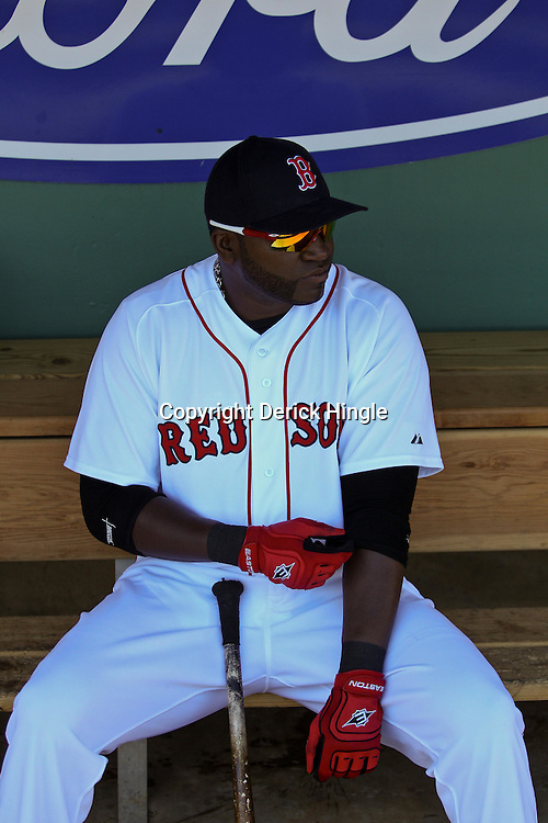 March 12, 2011; Fort Myers, FL, USA; Boston Red Sox first baseman David Ortiz (34) before a spring training exhibition game against the Florida Marlins at City of Palms Park. The Red Sox defeated the Marlins 9-2.  Mandatory Credit: Derick E. Hingle
