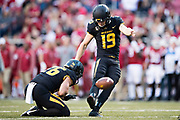 FAYETTEVILLE, AR - NOVEMBER 24:  Tucker McCann #19 of the Missouri Tigers kicks a extra point during a game against the Arkansas Razorbacks at Razorback Stadium on November 24, 2017 in Fayetteville, Arkansas.  The Tigers defeated the Razorbacks 48-45.  (Photo by Wesley Hitt/Getty Images) *** Local Caption *** Tucker McCann