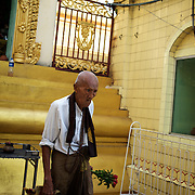 May 09, 2013 - Yangon, Myanmar: A local man at Sule Pagoda in central Yangon. CREDIT: Paulo Nunes dos Santos