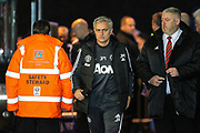 Manchester United manager Jose Mourinho arrives at the stadium, ahead of the EFL Cup match between Swansea City and Manchester United at the Liberty Stadium, Swansea, Wales on 24 October 2017. Photo by Andrew Lewis.
