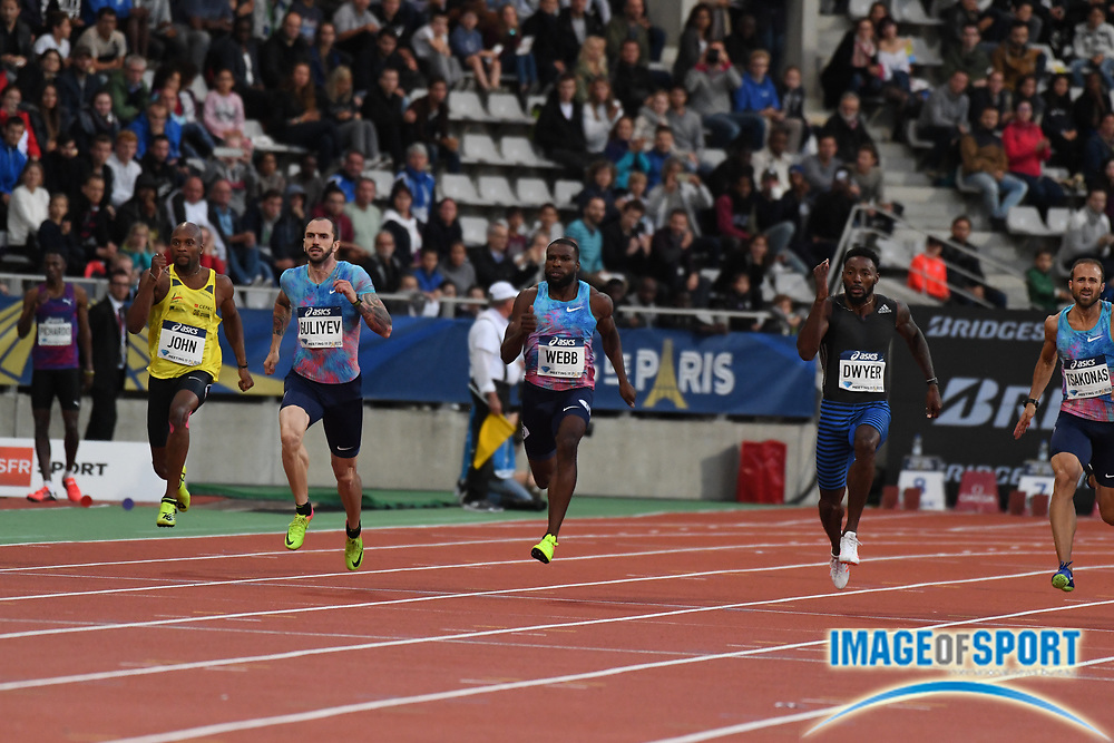 Jul 1, 2017; Paris, France; Ramil Guliyev (TUR), second from left, wins the 200m in 20.15 during the Meeting de Paris in an IAAF Diamond League meet at Stade Charlety. From left: Jeffrey John (FRA), Guliyev, Ameer Webb (USA) and Rasheed Dwyer (JAM).