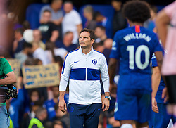 LONDON, ENGLAND - Sunday, August 18, 2019: Chelsea's manager Frank Lampard walks onto the pitch after the FA Premier League match between Chelsea's  FC and Leicester City FC at Stamford Bridge. The game ended in a 1-1 draw. (Pic by David Rawcliffe/Propaganda)