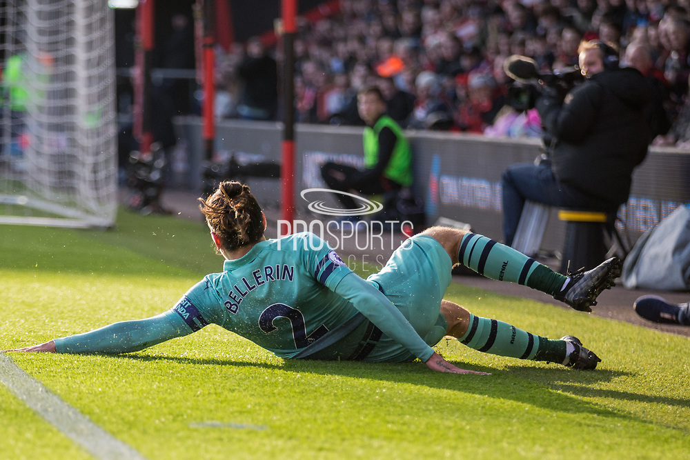 Hector Bellerin (Arsenal) attempt at goal in the first half during the Premier League match between Bournemouth and Arsenal at the Vitality Stadium, Bournemouth, England on 25 November 2018.
