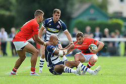 Bristol Rugby Winger Tom Varndell challenges London Welsh Inside Centre Olly Barkley - Mandatory byline: Dougie Allward/JMP - 07966 386802 - 13/09/2015 - RUGBY UNION - Old Deer Park - Richmond, London, England - London Welsh v Bristol Rugby - Greene King IPA Championship.