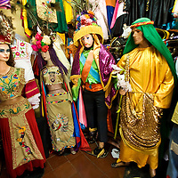 Decorative costumes for sale in Masaya. Masaya is close to Granada in Nicaragua. Masaya is famous for its art markets where it sells crafts from the surrounding region. It is also a major regional transport hub.