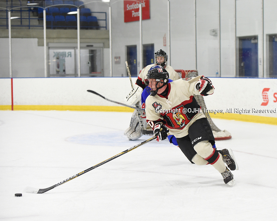 TORONTO, ON - Oct 17, 2015 : Ontario Junior Hockey League game action between Newmarket and Toronto, Christian Dedonato #10 of the Newmarket Hurricanes skates with the puck during the third period.<br /> (Photo by Andy Corneau / OJHL Images)