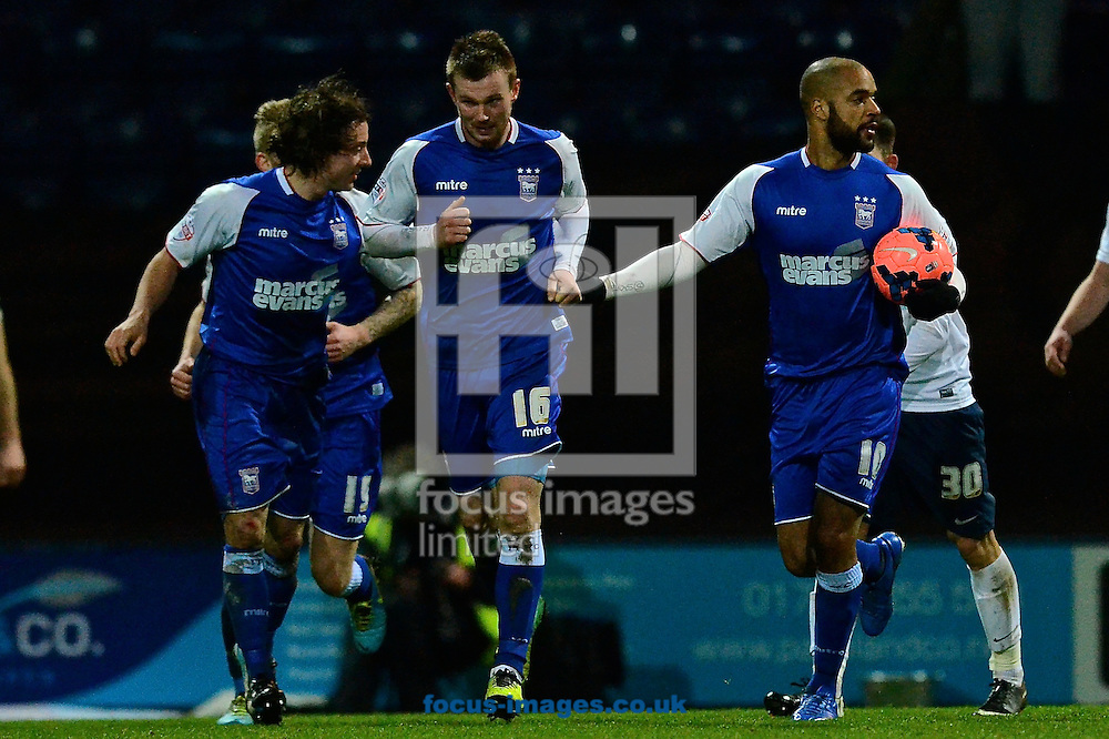 Picture by Ian Wadkins/Focus Images Ltd +44 7877 568959<br /> 14/01/2014<br /> David McGoldrick of Ipswich Town (with ball) celebrates after scoring to make it Preston North End 2 Ipswich Town 2 during the The FA Cup match at Deepdale, Preston.
