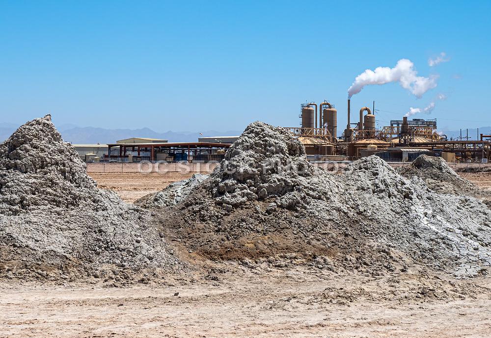 Salton Sea Mud Volcanos with Salton Sea Geothermal Plant in Background