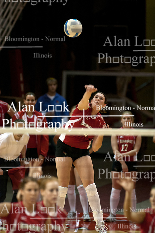 19 November 2005: Laura Doornbos strikes a powerful serve. The Wichita State Shockers electirfied Redbird Arena in Normal Illinois and unnested the Redbirds from their home in 3 straight games.